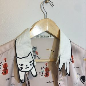 Tops - Precious cat collar blouse
